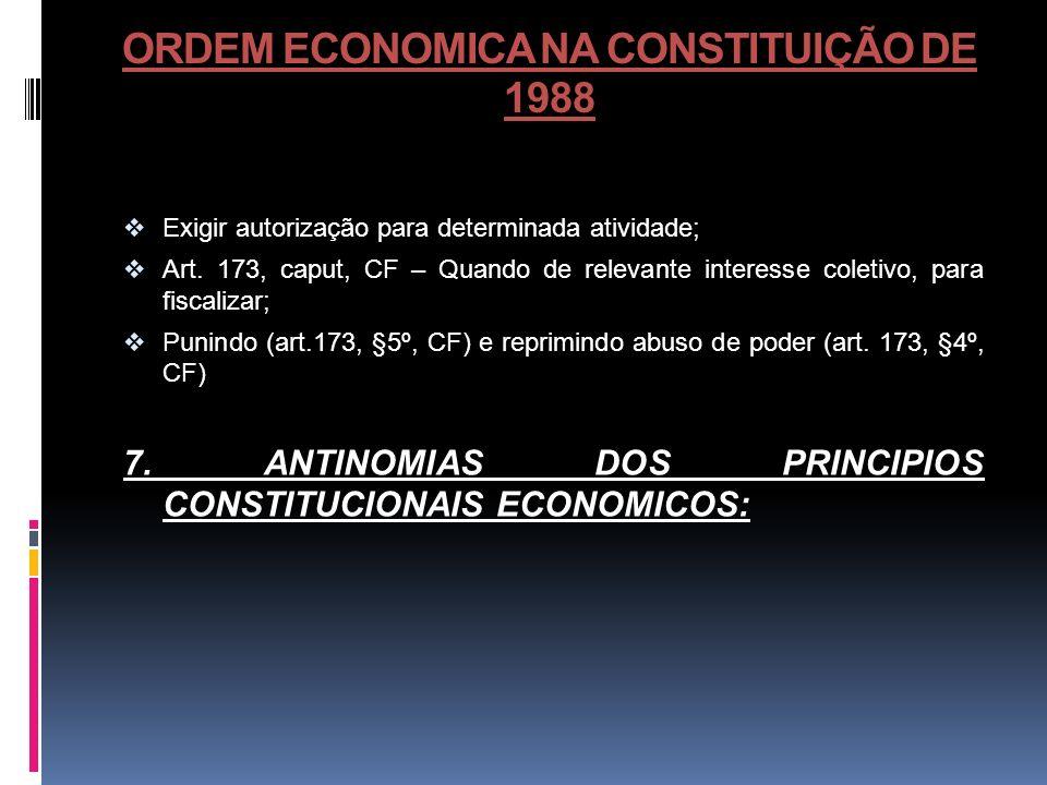 ORDEM ECONOMICA NA CONSTITUIÇÃO DE 1988 Exigir autorização para determinada atividade; Art. 173, caput, CF – Quando de relevante interesse coletivo, p