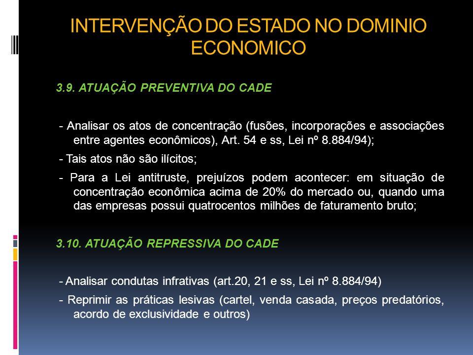 INTERVENÇÃO DO ESTADO NO DOMINIO ECONOMICO 3.9. ATUAÇÃO PREVENTIVA DO CADE - Analisar os atos de concentração (fusões, incorporações e associações ent