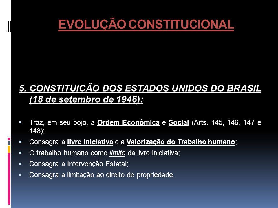 EVOLUÇÃO CONSTITUCIONAL 5. CONSTITUIÇÃO DOS ESTADOS UNIDOS DO BRASIL (18 de setembro de 1946): Traz, em seu bojo, a Ordem Econômica e Social (Arts. 14