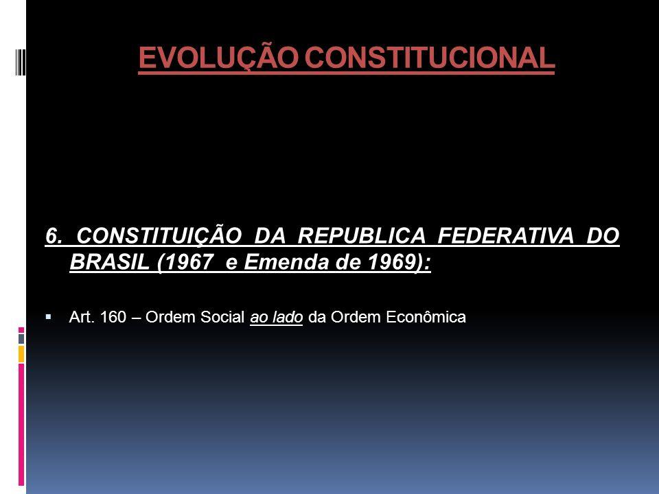 EVOLUÇÃO CONSTITUCIONAL 6. CONSTITUIÇÃO DA REPUBLICA FEDERATIVA DO BRASIL (1967 e Emenda de 1969): Art. 160 – Ordem Social ao lado da Ordem Econômica