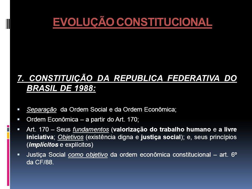 EVOLUÇÃO CONSTITUCIONAL 7. CONSTITUIÇÃO DA REPUBLICA FEDERATIVA DO BRASIL DE 1988: Separação da Ordem Social e da Ordem Econômica; Ordem Econômica – a