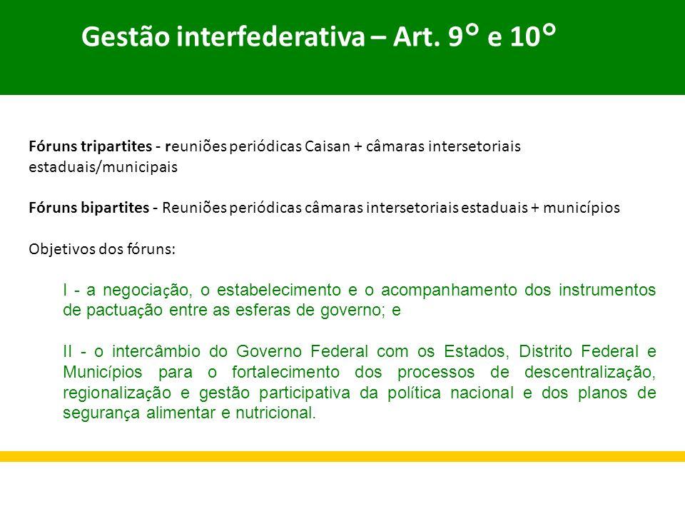 Gestão interfederativa – Art. 9° e 10° Fóruns tripartites - reuniões periódicas Caisan + câmaras intersetoriais estaduais/municipais Fóruns bipartites