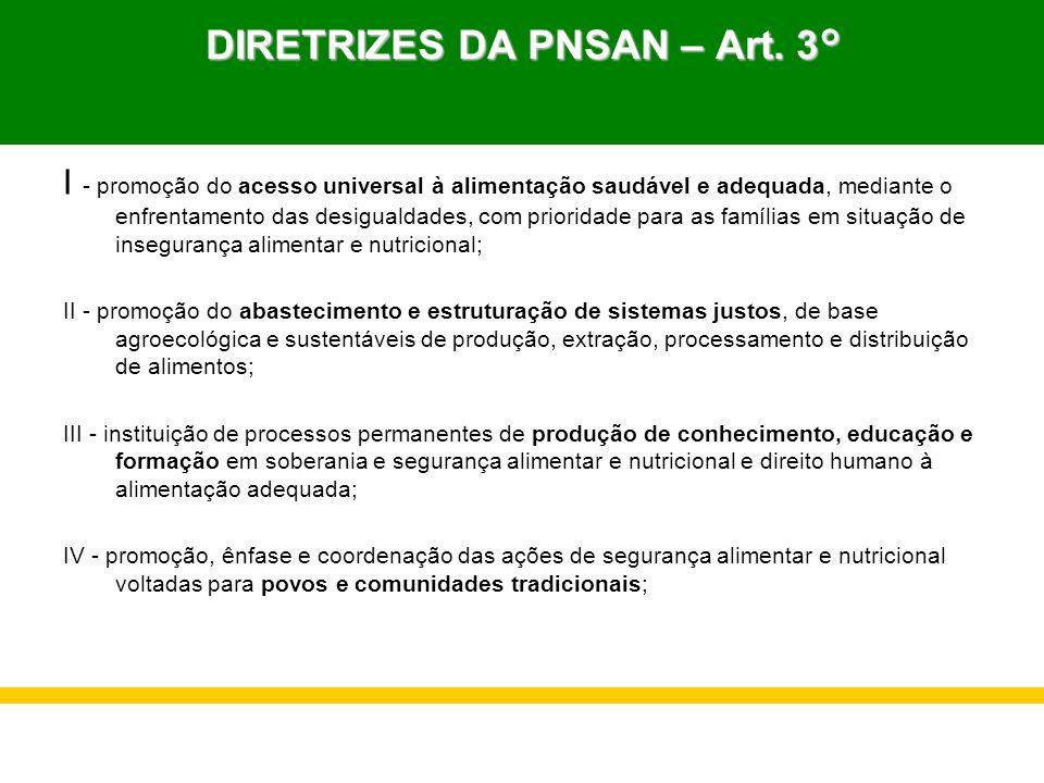 DIRETRIZES DA PNSAN – Art. 3° I - promoção do acesso universal à alimentação saudável e adequada, mediante o enfrentamento das desigualdades, com prio