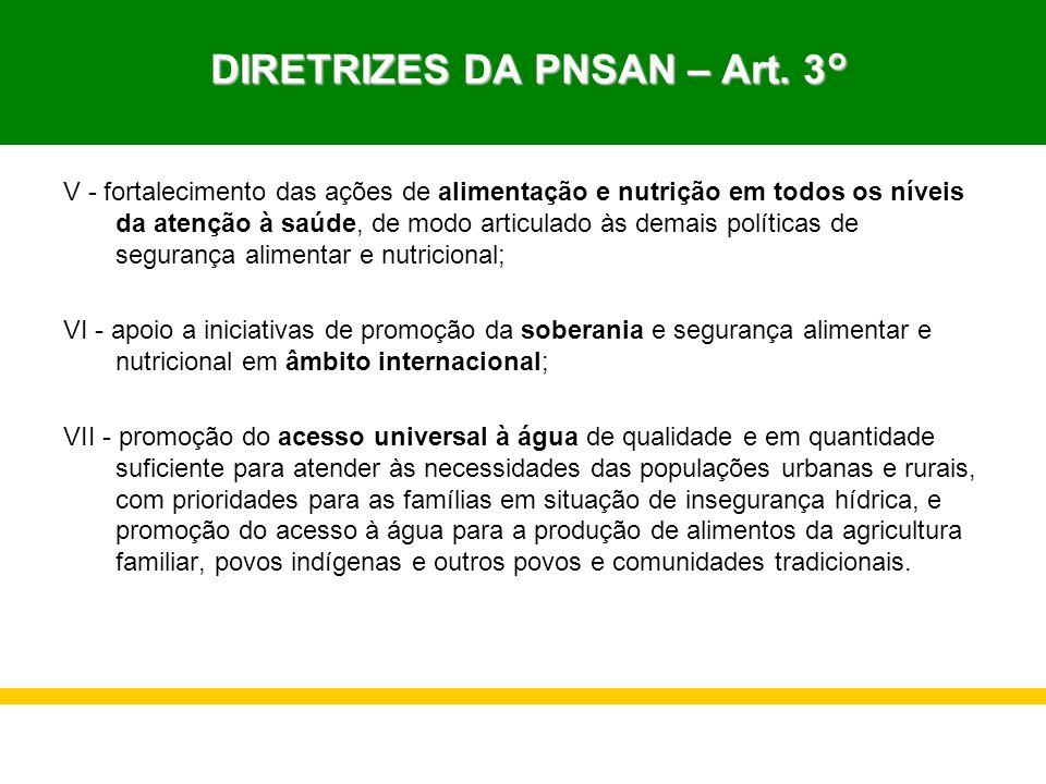 DIRETRIZES DA PNSAN – Art. 3° DIRETRIZES DA PNSAN – Art. 3° V - fortalecimento das ações de alimentação e nutrição em todos os níveis da atenção à saú
