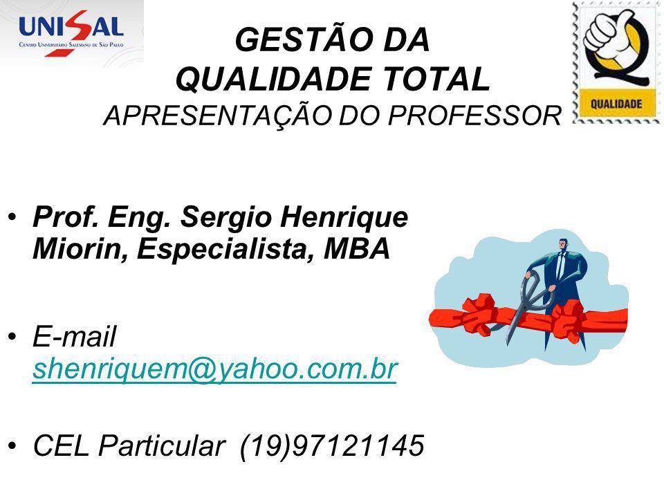 GESTÃO DA QUALIDADE TOTAL APRESENTAÇÃO DO PROFESSOR Prof. Eng. Sergio Henrique Miorin, Especialista, MBA E-mail shenriquem@yahoo.com.br shenriquem@yah