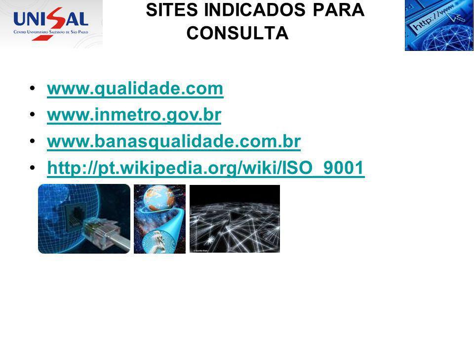 SITES INDICADOS PARA CONSULTA www.qualidade.com www.inmetro.gov.br www.banasqualidade.com.br http://pt.wikipedia.org/wiki/ISO_9001