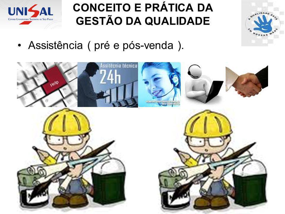 CONCEITO E PRÁTICA DA GESTÃO DA QUALIDADE Assistência ( pré e pós-venda ).
