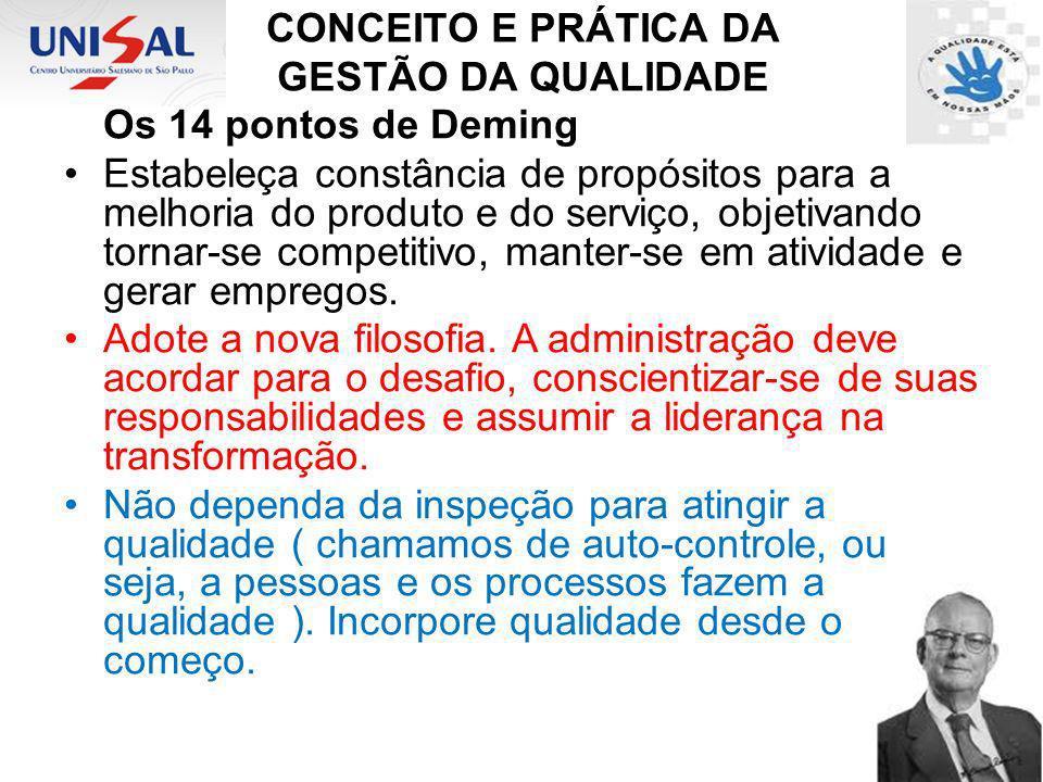 CONCEITO E PRÁTICA DA GESTÃO DA QUALIDADE Os 14 pontos de Deming Estabeleça constância de propósitos para a melhoria do produto e do serviço, objetiva