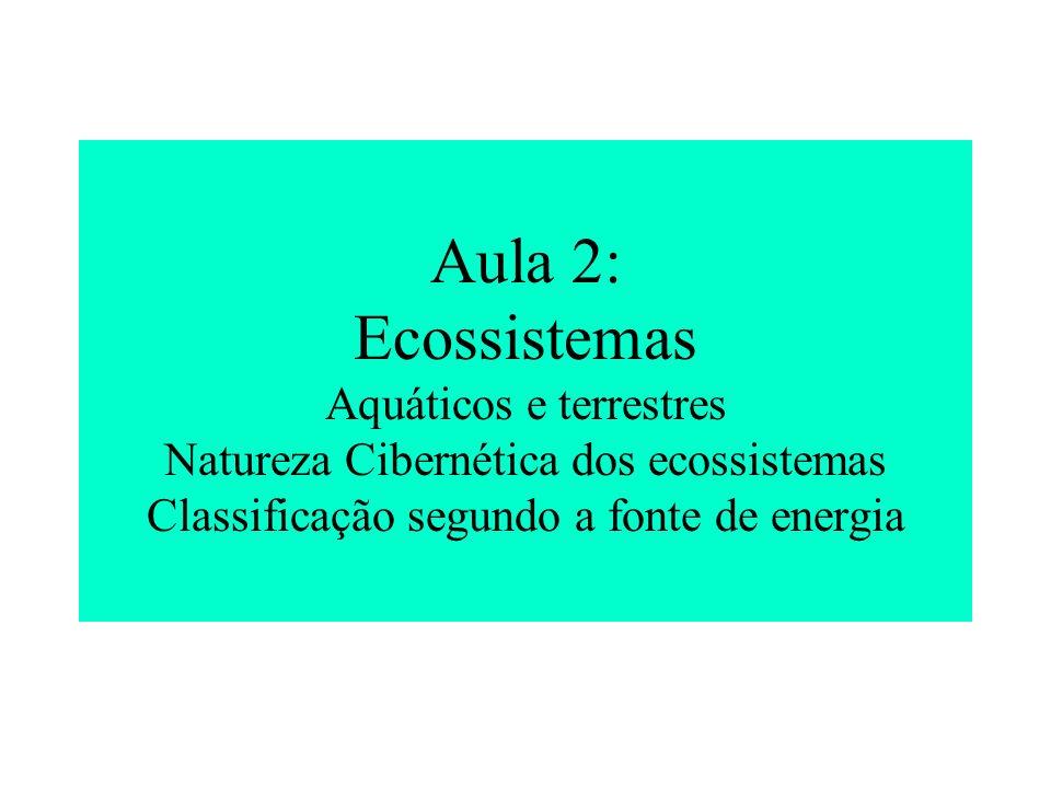 Aula 2: Ecossistemas Aquáticos e terrestres Natureza Cibernética dos ecossistemas Classificação segundo a fonte de energia
