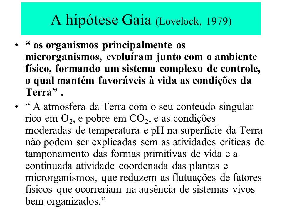 Comparação de condições atmosféricas e de temperatura (segundo Lovelock, 1979) MarteVênusTerra sem vida Terra real Atmosfera gás carbônico Nitrogênio Oxigênio 95% 2,7% 0,13% 98% 1,9% Traços 98% 1,9% Traços 0,03% 79% 21% Temperatura Superficial 0 C - 53477290 + -5013 Cianobactérias (foram os primeiros seres fotossintetizantes) e, as responsáveis pela produção do O 2 transformando a atmosfera da terra primitiva de anaeróbia para aeróbia.