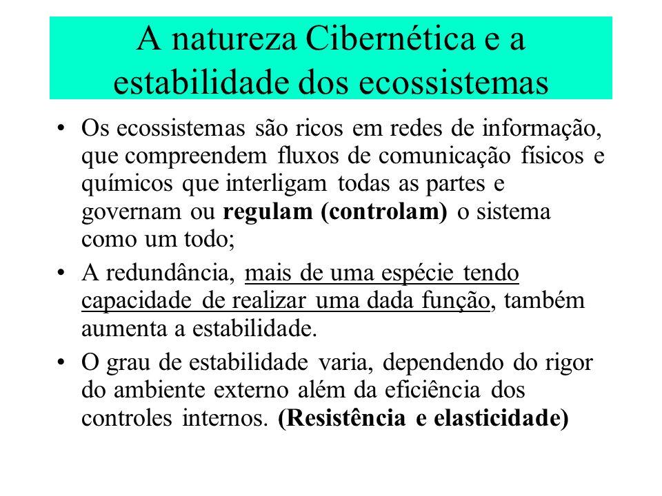 A natureza Cibernética e a estabilidade dos ecossistemas Os ecossistemas são ricos em redes de informação, que compreendem fluxos de comunicação físic