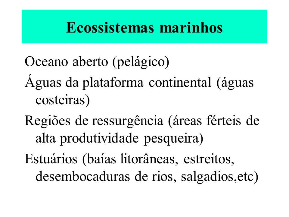 Ecossistemas marinhos Oceano aberto (pelágico) Águas da plataforma continental (águas costeiras) Regiões de ressurgência (áreas férteis de alta produt