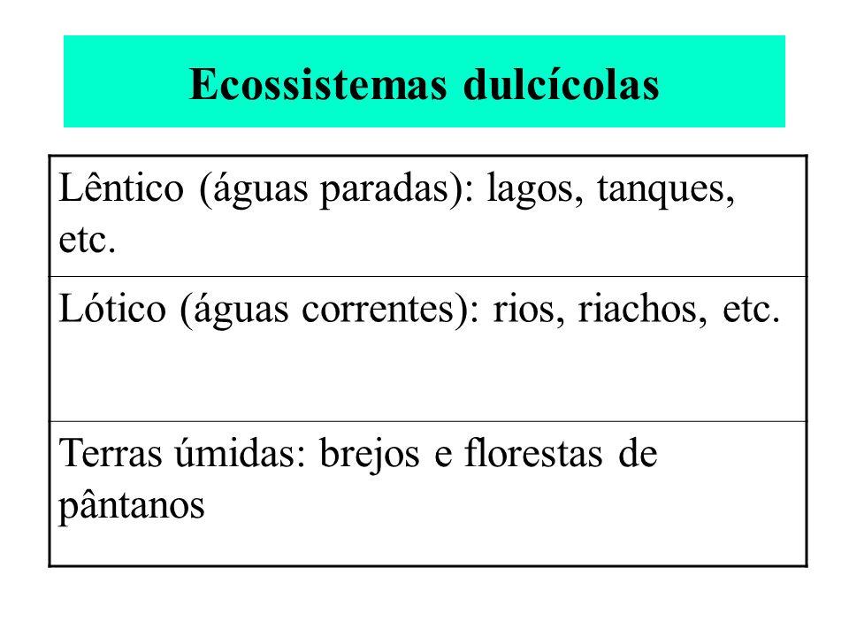 Ecossistemas dulcícolas Lêntico (águas paradas): lagos, tanques, etc. Lótico (águas correntes): rios, riachos, etc. Terras úmidas: brejos e florestas