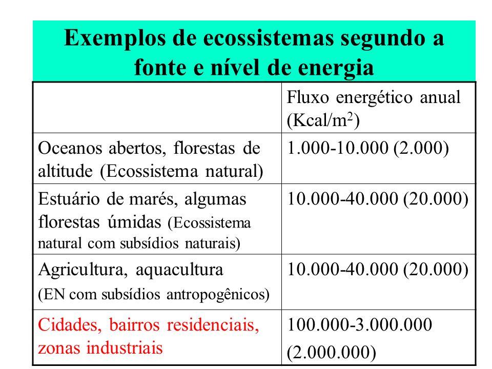 Exemplos de ecossistemas segundo a fonte e nível de energia Fluxo energético anual (Kcal/m 2 ) Oceanos abertos, florestas de altitude (Ecossistema nat