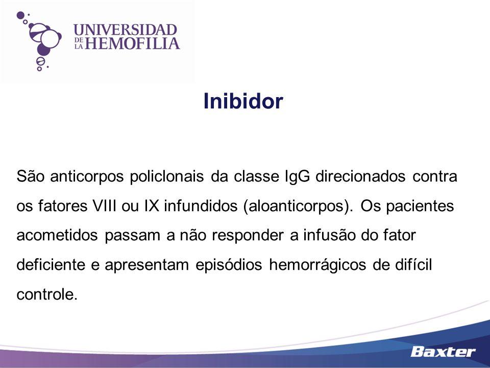 Inibidor São anticorpos policlonais da classe IgG direcionados contra os fatores VIII ou IX infundidos (aloanticorpos). Os pacientes acometidos passam