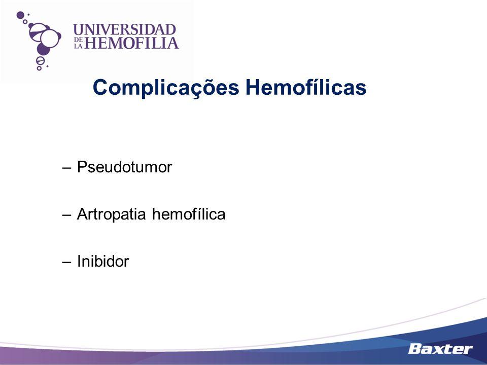 –Pseudotumor –Artropatia hemofílica –Inibidor Complicações Hemofílicas