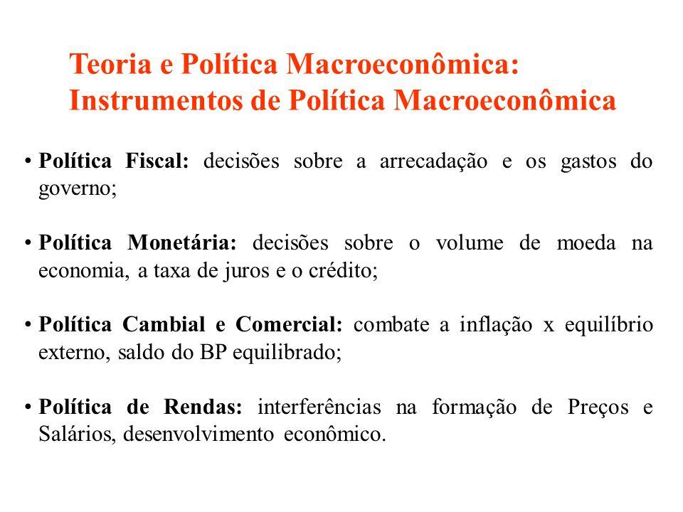 Política Fiscal: decisões sobre a arrecadação e os gastos do governo; Política Monetária: decisões sobre o volume de moeda na economia, a taxa de juro