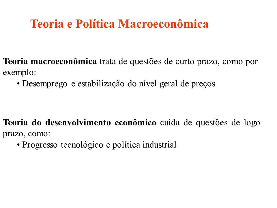 Teoria macroeconômica trata de questões de curto prazo, como por exemplo: Desemprego e estabilização do nível geral de preços Teoria do desenvolviment