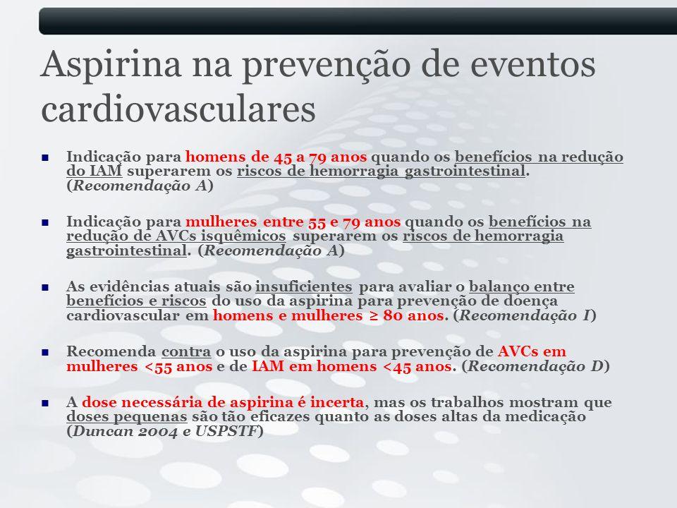 Aspirina na prevenção de eventos cardiovasculares Indicação para homens de 45 a 79 anos quando os benefícios na redução do IAM superarem os riscos de