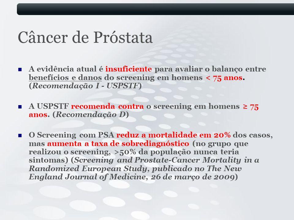 Câncer de Próstata A evidência atual é insuficiente para avaliar o balanço entre benefícios e danos do screening em homens < 75 anos. (Recomendação I