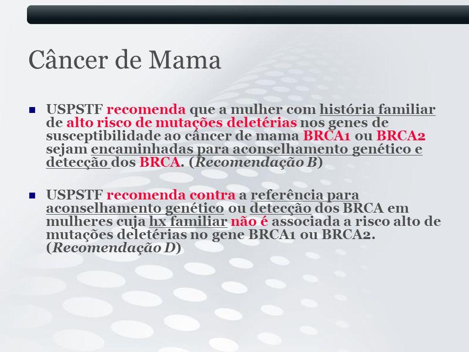 Câncer de Mama USPSTF recomenda que a mulher com história familiar de alto risco de mutações deletérias nos genes de susceptibilidade ao câncer de mam