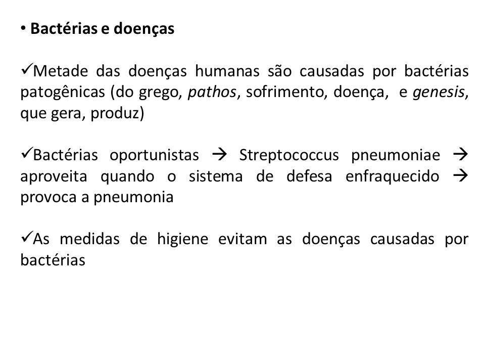 Bactérias e doenças Metade das doenças humanas são causadas por bactérias patogênicas (do grego, pathos, sofrimento, doença, e genesis, que gera, prod