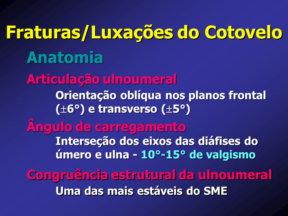 Articulação ulnoumeral Orientação oblíqua nos planos frontal ( 6°) e transverso ( 5°) Articulação ulnoumeral Orientação oblíqua nos planos frontal ( 6