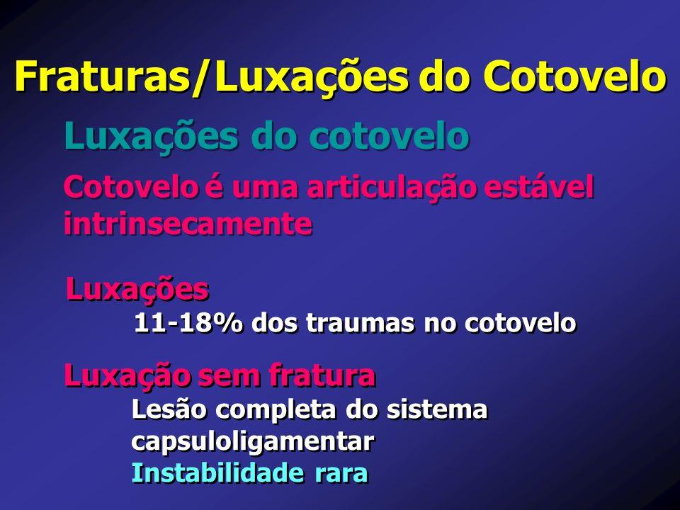 Cotovelo é uma articulação estável intrinsecamente Luxações do cotovelo Fraturas/Luxações do Cotovelo Luxação sem fratura Lesão completa do sistema ca