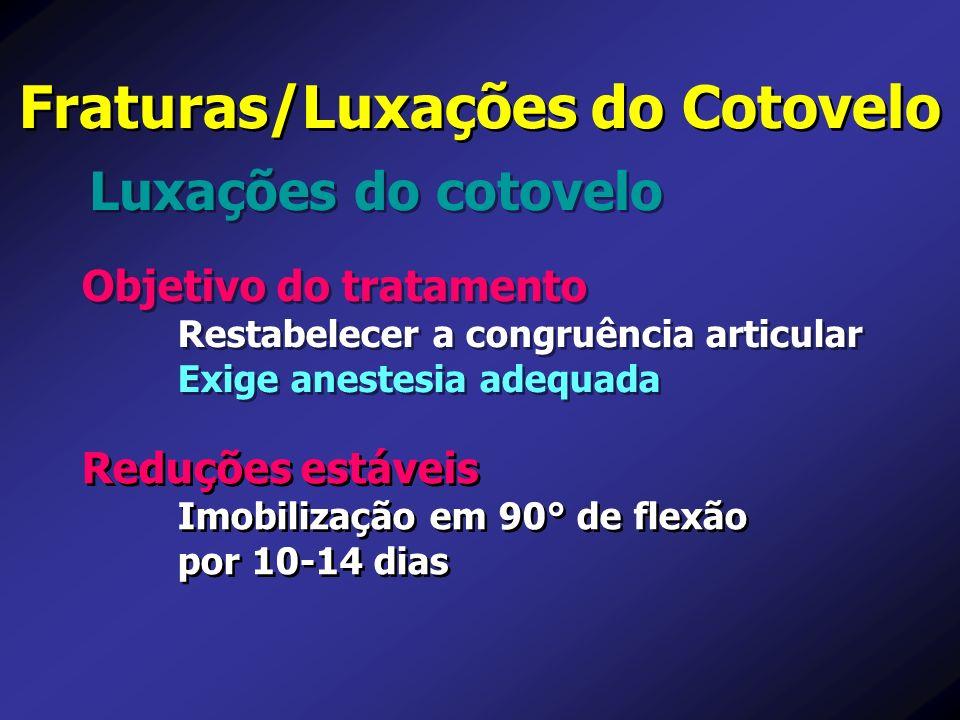 Objetivo do tratamento Restabelecer a congruência articular Exige anestesia adequada Objetivo do tratamento Restabelecer a congruência articular Exige