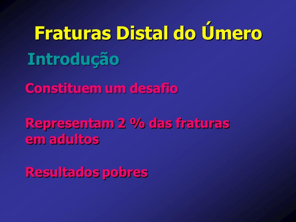 Constituem um desafio Introdução Fraturas Distal do Úmero Resultados pobres Representam 2 % das fraturas em adultos Representam 2 % das fraturas em ad