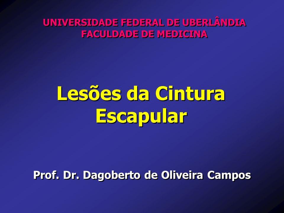 Lesões da Cintura Escapular Prof. Dr. Dagoberto de Oliveira Campos UNIVERSIDADE FEDERAL DE UBERLÂNDIA FACULDADE DE MEDICINA UNIVERSIDADE FEDERAL DE UB