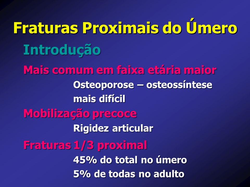 Fraturas Proximais do Úmero Mais comum em faixa etária maior Osteoporose – osteossíntese mais difícil Mais comum em faixa etária maior Osteoporose – o