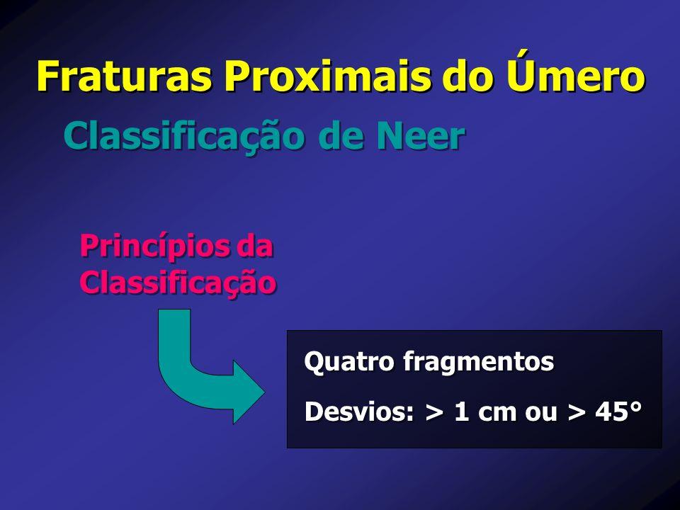 Classificação de Neer Fraturas Proximais do Úmero Princípios da Classificação Quatro fragmentos Desvios: > 1 cm ou > 45° Quatro fragmentos Desvios: >