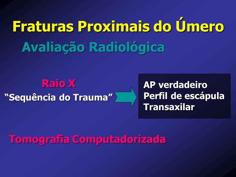 Avaliação Radiológica Fraturas Proximais do Úmero Raio X Sequência do Trauma Raio X Sequência do Trauma Tomografia Computadorizada AP verdadeiro Perfi