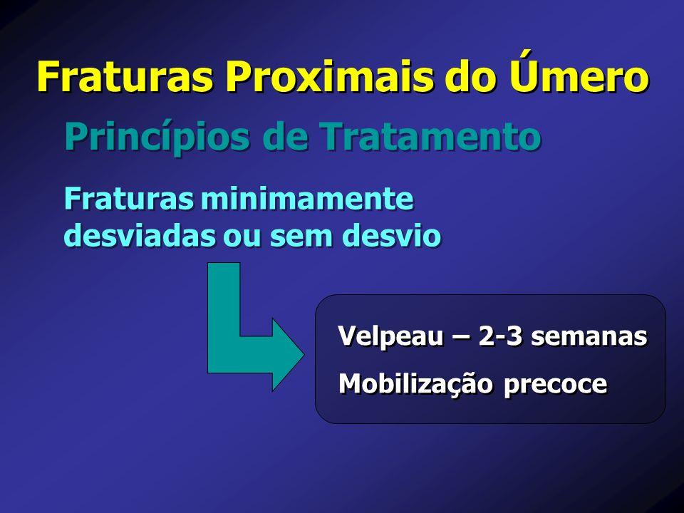 Princípios de Tratamento Fraturas Proximais do Úmero Fraturas minimamente desviadas ou sem desvio Velpeau – 2-3 semanas Mobilização precoce Velpeau –