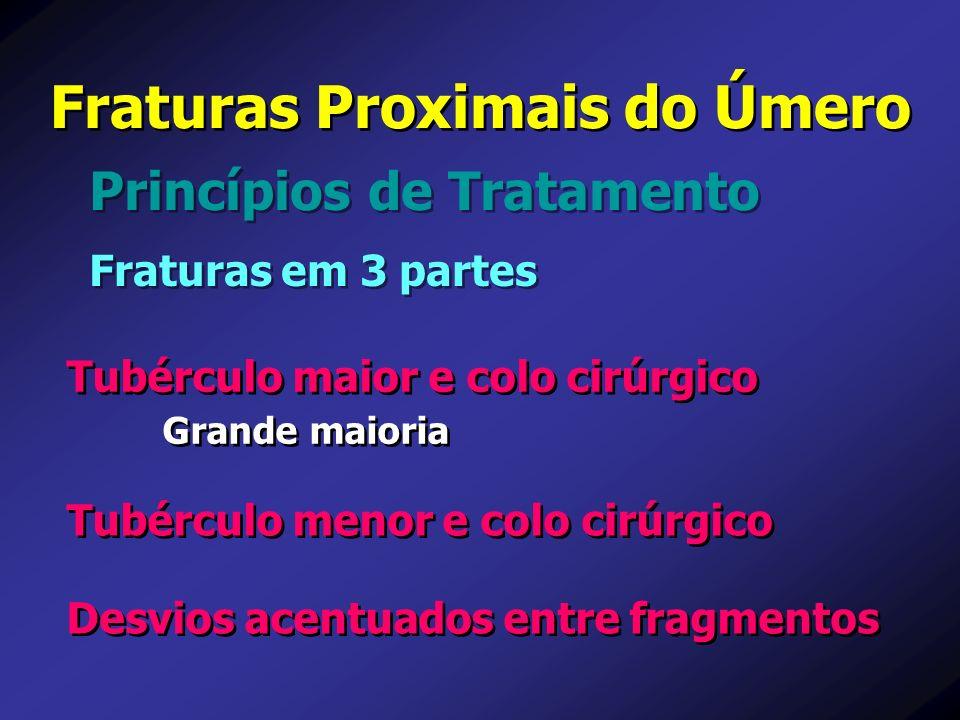 Princípios de Tratamento Fraturas Proximais do Úmero Fraturas em 3 partes Tubérculo maior e colo cirúrgico Grande maioria Desvios acentuados entre fra