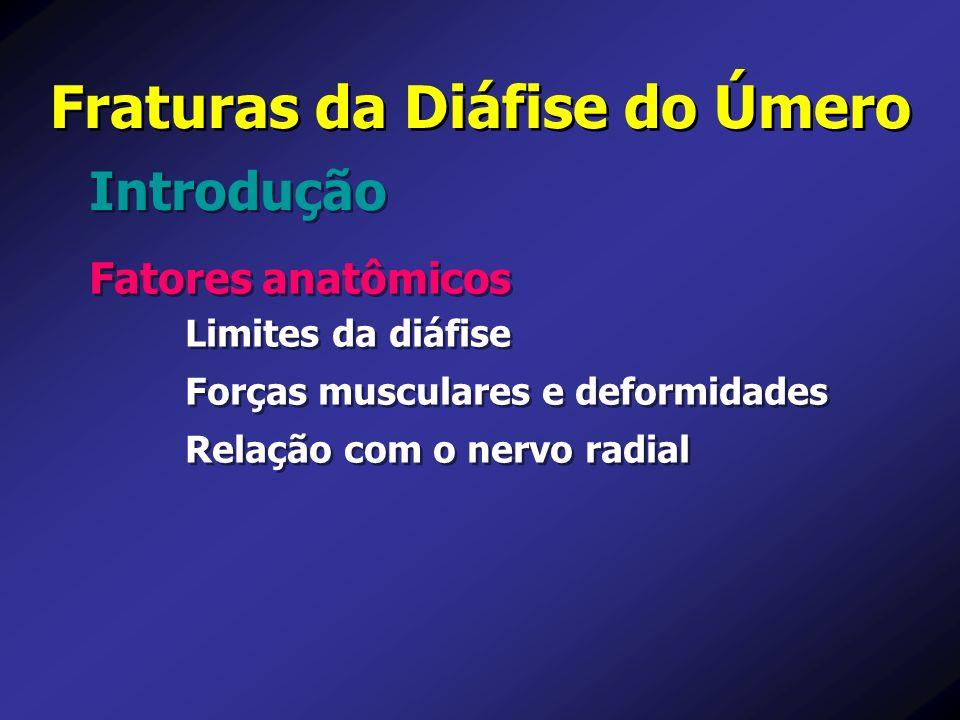 Fraturas da Diáfise do Úmero Fatores anatômicos Limites da diáfise Forças musculares e deformidades Relação com o nervo radial Fatores anatômicos Limi