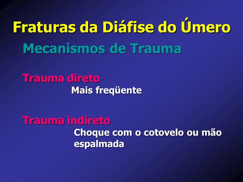 Fraturas da Diáfise do Úmero Trauma direto Mais freqüente Trauma direto Mais freqüente Mecanismos de Trauma Trauma indireto Choque com o cotovelo ou m