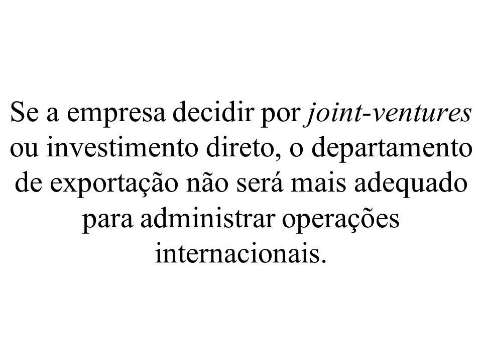 Se a empresa decidir por joint-ventures ou investimento direto, o departamento de exportação não será mais adequado para administrar operações interna