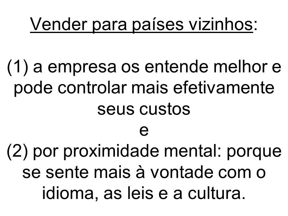 Vender para países vizinhos: (1) a empresa os entende melhor e pode controlar mais efetivamente seus custos e (2) por proximidade mental: porque se se