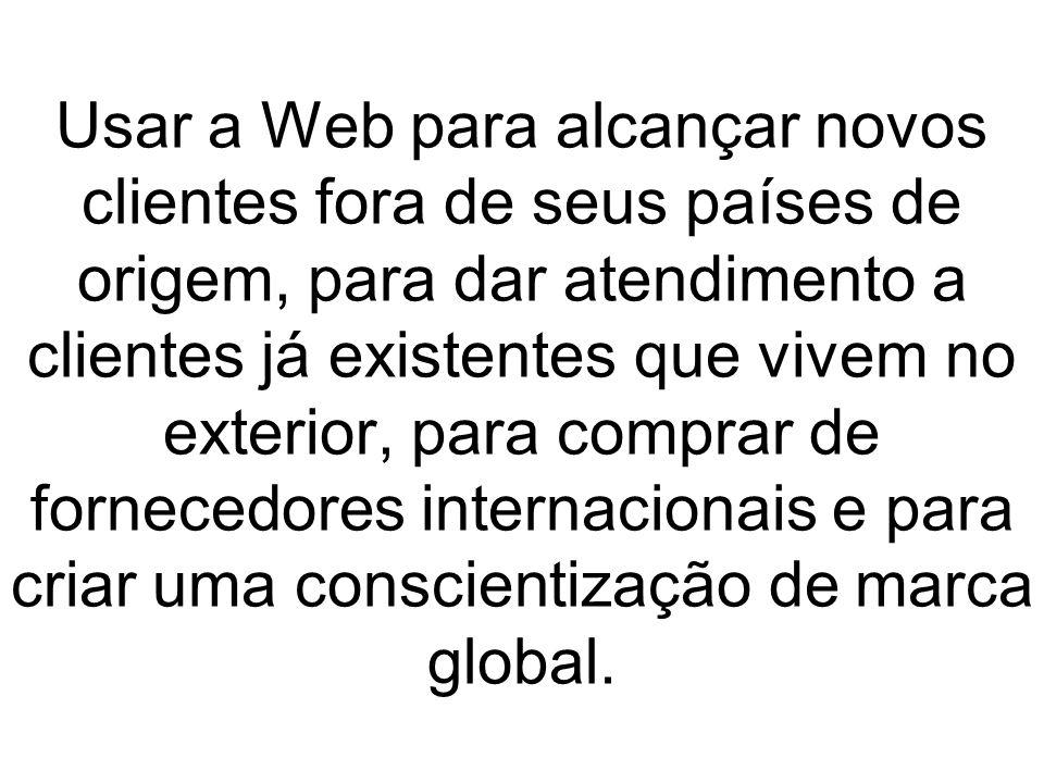 Usar a Web para alcançar novos clientes fora de seus países de origem, para dar atendimento a clientes já existentes que vivem no exterior, para compr