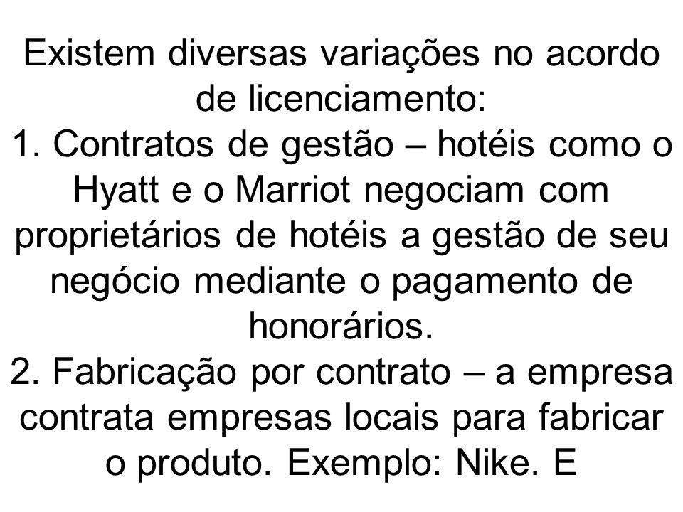 Existem diversas variações no acordo de licenciamento: 1. Contratos de gestão – hotéis como o Hyatt e o Marriot negociam com proprietários de hotéis a