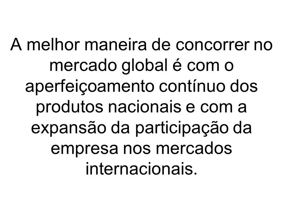A melhor maneira de concorrer no mercado global é com o aperfeiçoamento contínuo dos produtos nacionais e com a expansão da participação da empresa no
