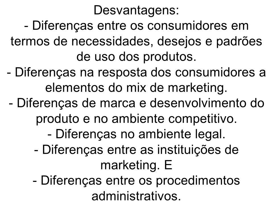 Desvantagens: - Diferenças entre os consumidores em termos de necessidades, desejos e padrões de uso dos produtos. - Diferenças na resposta dos consum