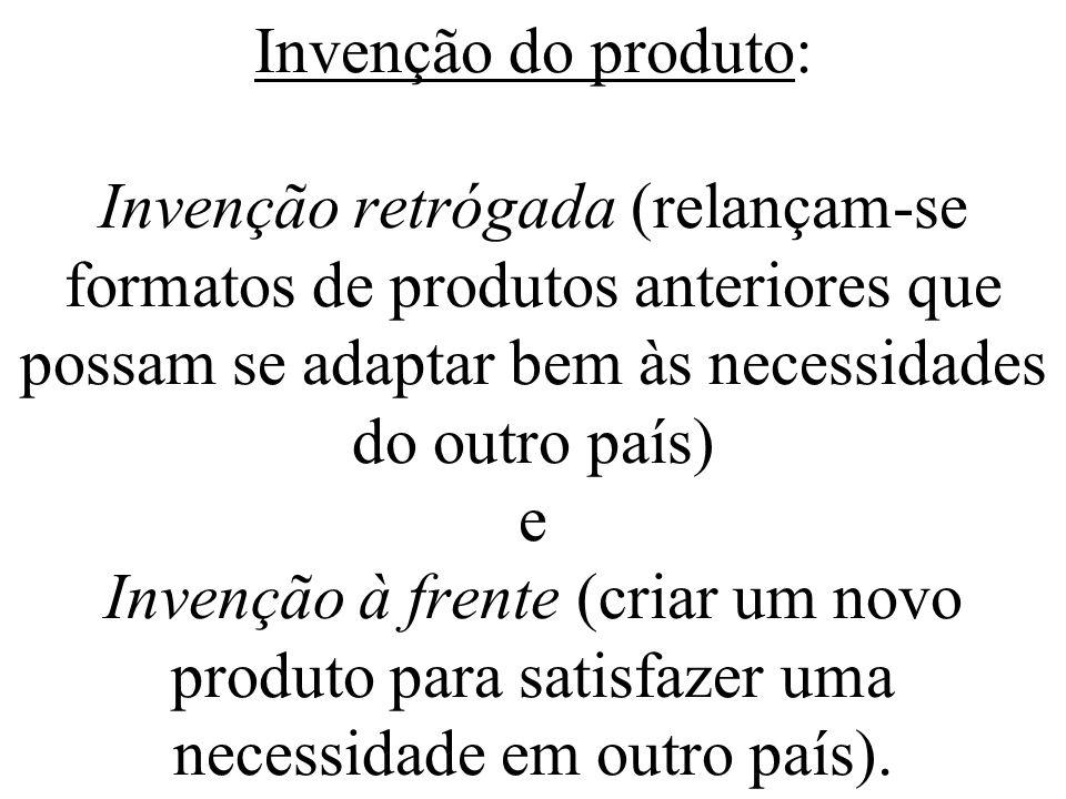 Invenção do produto: Invenção retrógada (relançam-se formatos de produtos anteriores que possam se adaptar bem às necessidades do outro país) e Invenç