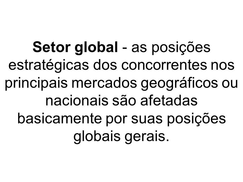 Setor global - as posições estratégicas dos concorrentes nos principais mercados geográficos ou nacionais são afetadas basicamente por suas posições g