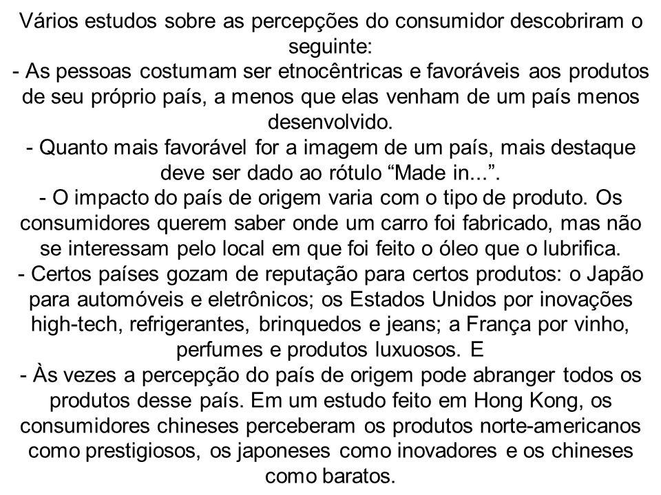 Vários estudos sobre as percepções do consumidor descobriram o seguinte: - As pessoas costumam ser etnocêntricas e favoráveis aos produtos de seu próp