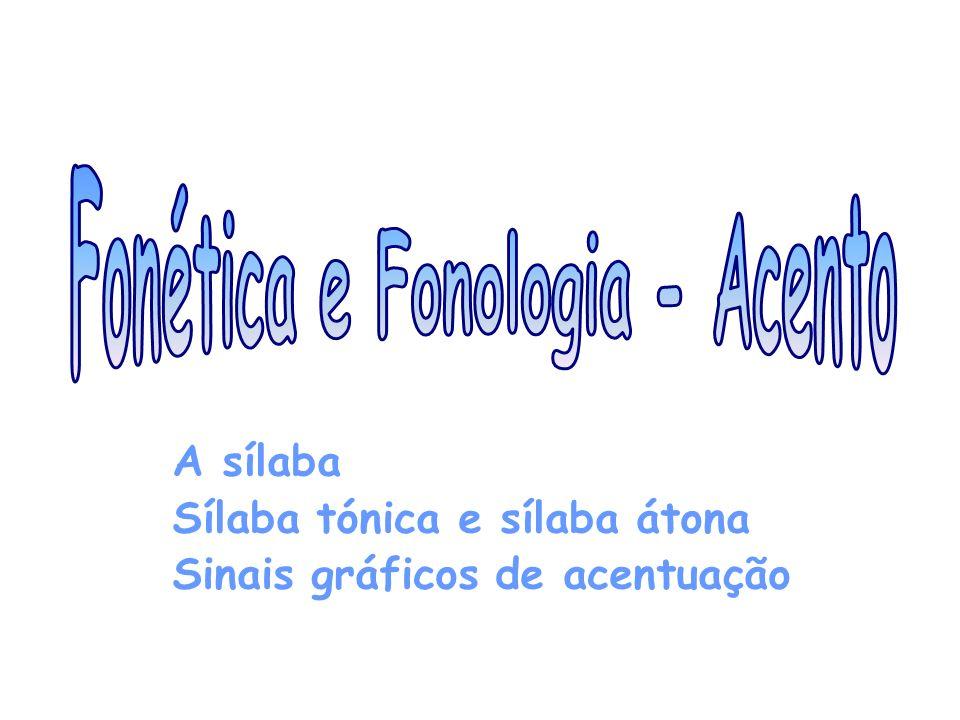 A sílaba Sílaba tónica e sílaba átona Sinais gráficos de acentuação