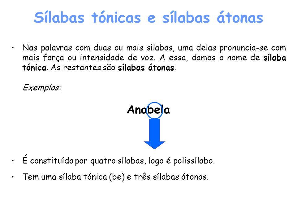 Sílabas tónicas e sílabas átonas Nas palavras com duas ou mais sílabas, uma delas pronuncia-se com mais força ou intensidade de voz. A essa, damos o n