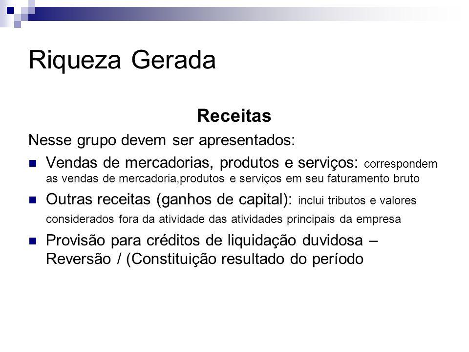 Riqueza Gerada Receitas Nesse grupo devem ser apresentados: Vendas de mercadorias, produtos e serviços: correspondem as vendas de mercadoria,produtos
